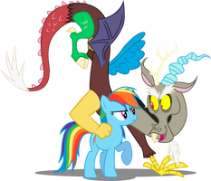 Rainbow Dash and Discord by Jakage