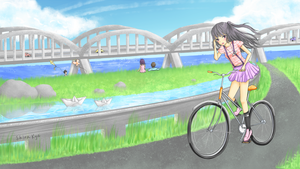Riding a bicycle by ShiraKyandii
