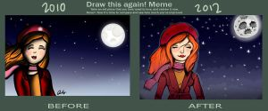 Draw This Again Meme: Girl and the Moon by Rubysnuff