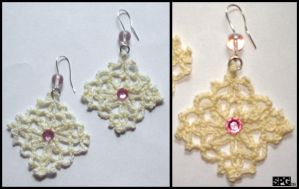 Pink Crochet Earrings by Petra0