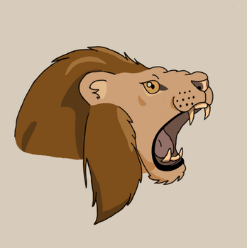Lion Head(Coloured) by Wyvernis