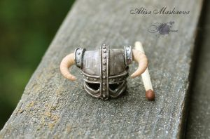 Miniature Dovahkiin's helmet from polymer clay 3 by Krinna