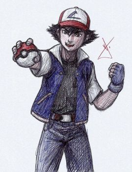 Ash Ketchum sketch by RodWolf