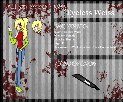 .:|CP OC| Eyeless Weiss[re-draw]:. by ShadowVamp5619