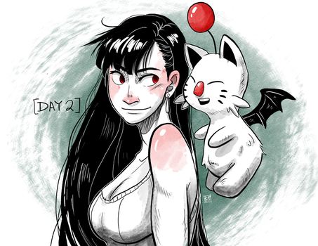 [Inktober Day 2] Tifa and Moogle by kyraichu