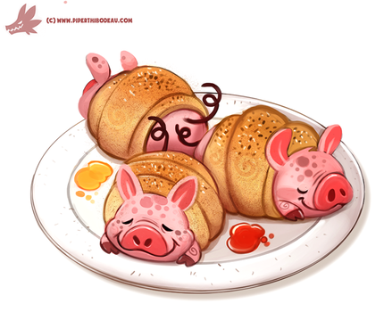 Daily Paint #1178. 'Pigs in a Blanket' by Cryptid-Creations