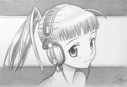 Manga Girl with Headphones by MCorderroure