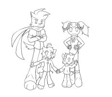Lineart Familia =3 by D3-shadow-wolf