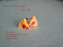 Pepperoni Pizza Stud Earrings by Wintaria