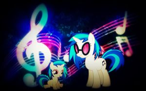 Vinyl Scratch/DJ-Pon 3 Wallpaper by CKittyKat98