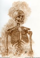 Sepia Skeleton by KatCrosslandArt