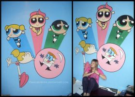 PPG and Dexter's Lab on a wall by pimaszkornos
