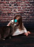 Girl and her cat by HigherSeeking