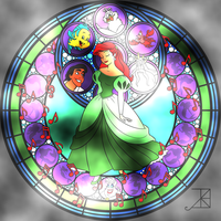 Ariel Stained Glass (Coloring Page) by spongefan257