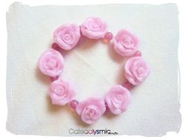 Pastel Pink Rose Bracelet by Cateaclysmic