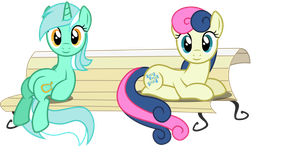 Lyra and BonBon on a Bench by Baka-Neku