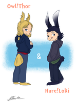 Owl!Thor and Hare!Loki by caycowa