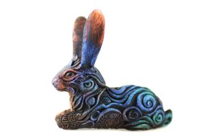 Animal totem sculpture - black hare by hontor