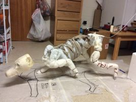 WIP lifesize thylacine poseable mount by pookyhorse