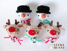Reindeer and Snowman Ornaments by luckybunny0254