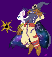 Wizarmon and Tailmon by WorryBot