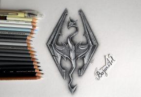 Skyrim logo drawing by Bajanoski