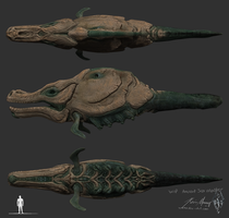 Skyrim: Ancient Sea Monster WIP by KevinMassey