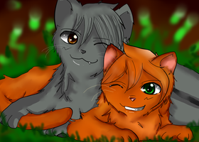 Younger Days Graystripe and Fireheart by darkanime93