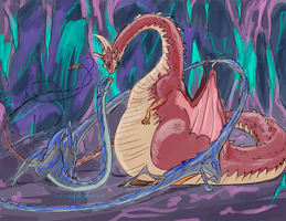 Dragoness and Wyrm by SpottedAlienMonster