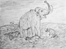 Prehistoric animals:Mammoth hunt,dire wolf edition by OG7