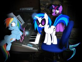 Dj pon3 turns up the beat for Rainbow and Twilight by TabbyDerp