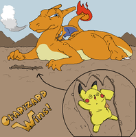 Charizard vs. Pikachu by SquiggledLine