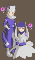 Meowstic as humans by KindCoffee