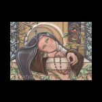 Saint Therese Praying At Window with Robin by natamon