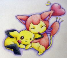 Cute Charm -- Skitty and Pichu by PacificPikachu