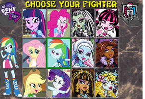 Equestria Girls vs. Monster High character select by ThunderFists1988