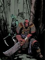 Hellboy Samurai Ninja Abe Sapien Color by Stephen-Green
