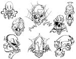 Mo Skulls 2 Tattoo Flash by BeeJayDeL