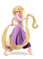 Rapunzel ready for action by Toonfighter
