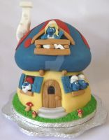 The Smurfs House Cake by ginas-cakes
