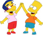Bart and Milhouse Hi Five by Mighty355