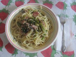 Spaghetti with Bacon, Asparagus and Mushrooms by DragonoftheEastblue