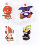 Tikal Chao, Big Chao, Emerl Chao and Gemerl Chao by Reallyfaster