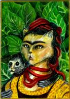 Frida Kahlo with monkey -ACEO by BlackAngel-Diana