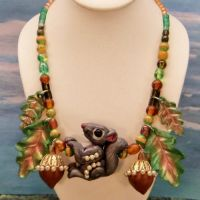Squirrel Acorn Leaf necklace by CreativeCritters