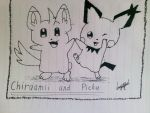 [Drawing] Chiraamii and Pichu by LuGiAdriel14