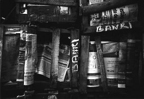 Boxes and Newspaper by kikaum