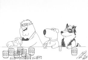 Family Guy - Peter, Brian and Kitara drinking by MortenEng21