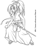 Hakama Girl (lineart) by klawzie