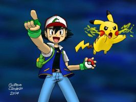 Ash and Pikachu by GustavoCardozo97